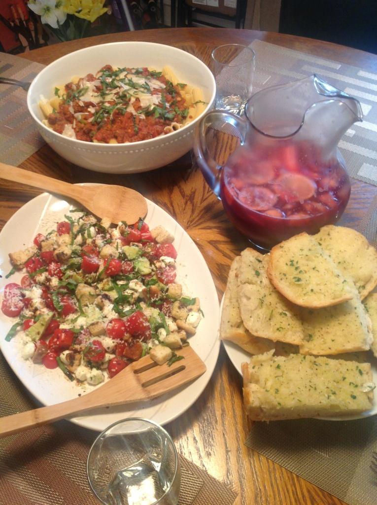 We served the pasta with a caprese-type salad and crusty garlic bread. And, as you can see, some sangria! Mixing my cuisines, but I had some fresh fruit I wanted to use up and had the rest of the bottle of wine from making the sauce, so...
