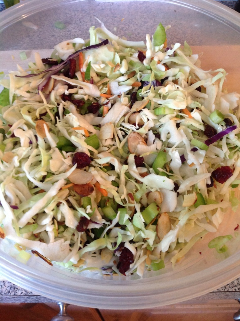 Coleslaw with dried cranberries and almonds